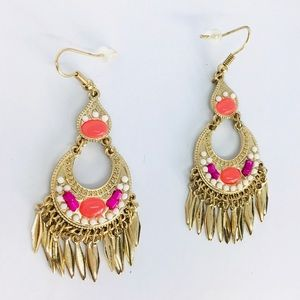 New! Native American Beaded Moon Fringes Earrings
